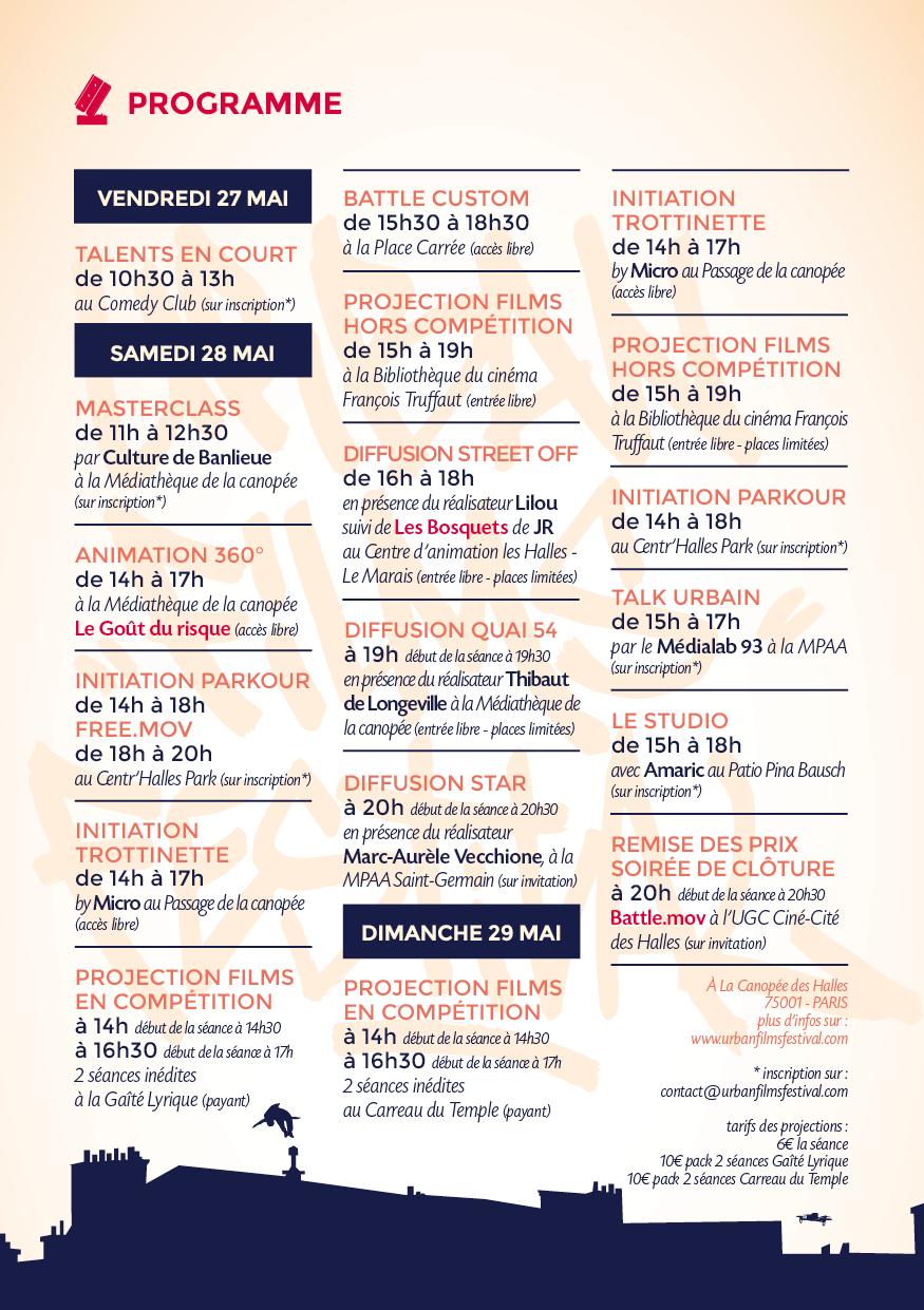 affiche Urban Films Festival 2016 programmation